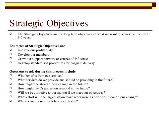 Planning for Strategic planning goals and objectives template