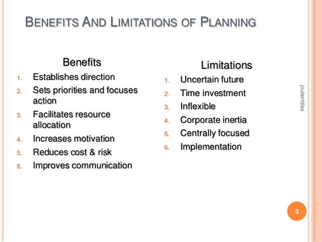 BENEFITS AND LIMITATIONS OF PLANNING Benefits 1.  3.  4. 5. 6.  1. 2. 3. 4. 5. 6.  Uncertain future Time investment Inflex...
