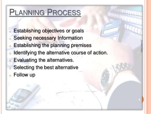 PLANNING PROCESS o  o o o  o o  joubertdias  o  Establishing objectives or goals Seeking necessary Information Establishin...