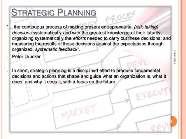 STRATEGIC PLANNING  -  Peter Drucker  -  In short, strategic planning is a disciplined effort to produce fundamental decis...