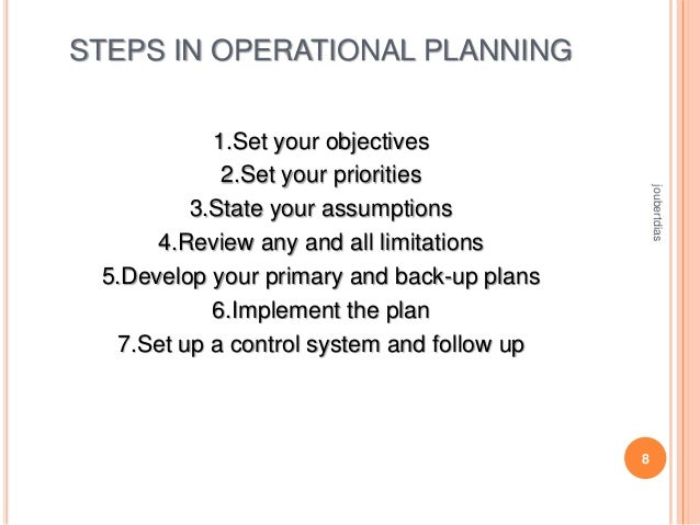 STEPS IN OPERATIONAL PLANNING  joubertdias  1.Set your objectives 2.Set your priorities 3.State your assumptions 4.Review ...