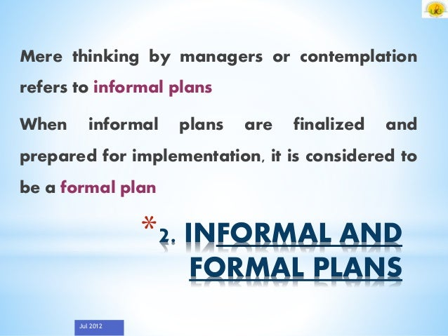formal and informal business planning