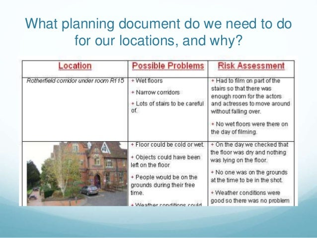 What planning document do we need to do for our locations, and why?
