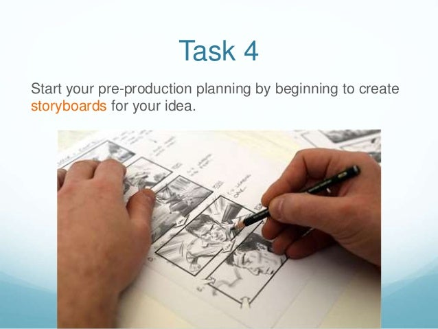 Task 4 Start your pre-production planning by beginning to create storyboards for your idea.