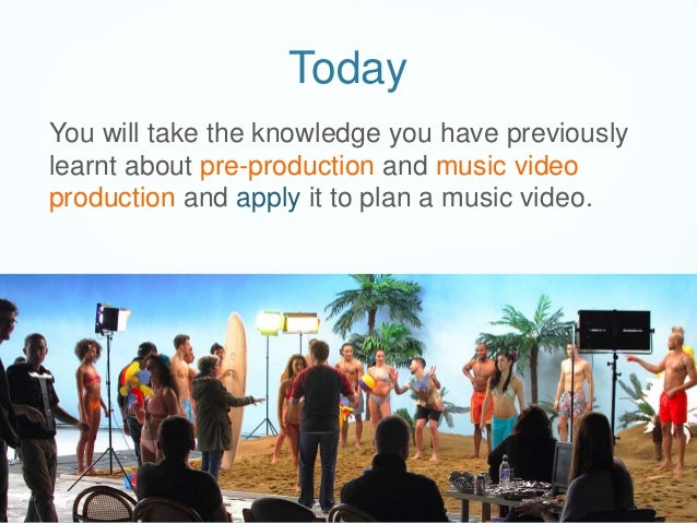 Today You will take the knowledge you have previously learnt about pre-production and music video production and apply it ...