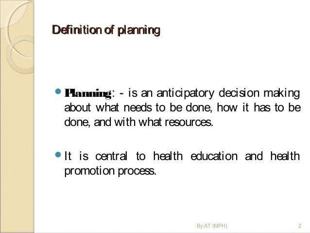 Planning, Implementation, Monitoring And Evaluation Of Health Educati…