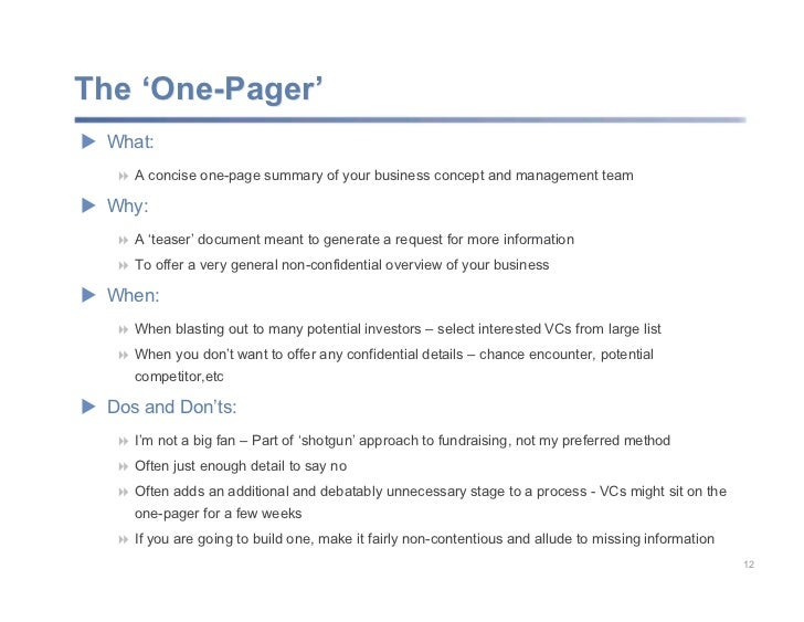 Planning and Communicating Your Business Concept – One Page Summary Template