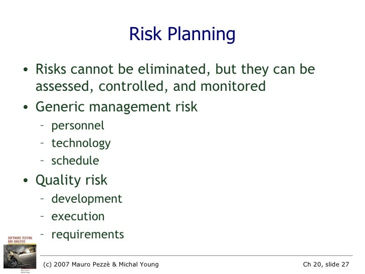 project risks can cannot be eliminated if •risk –uncertain or chance events that planning can not overcome or control • risk management –a proactive attempt to recognize and.