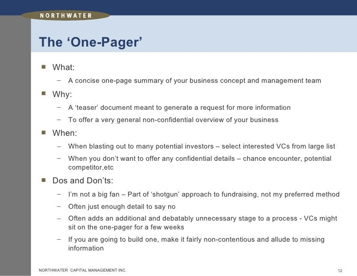 how to write a project one pager