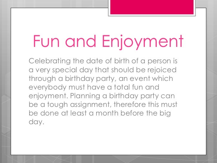 Planning a birthday party Slide 2