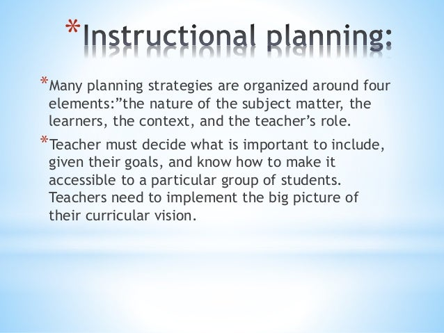 systematic instructional planning process