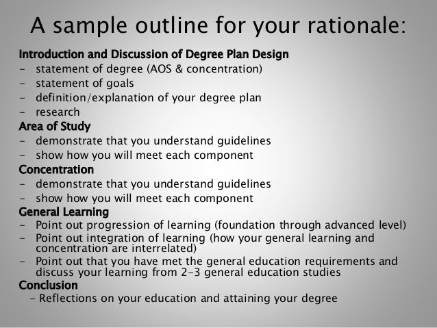 """degree planning rationale essay Free rationale papers, essays better essays: learning plan rationale once said """"the degree of civilization in a society can be judged by."""