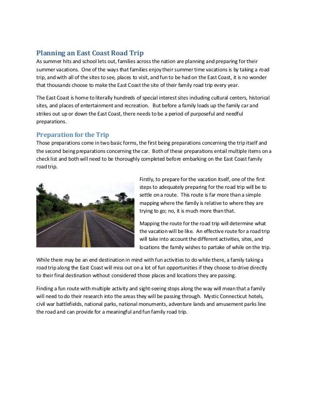 Planning An East Coast Road Trip