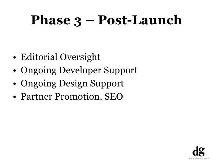 Phase 3 – Post-Launch <ul><li>Editorial Oversight </li></ul><ul><li>Ongoing Developer Support </li></ul><ul><li>Ongoing De...