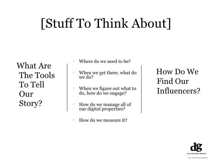 [Stuff To Think About] <ul><li>What Are The Tools To Tell Our Story? </li></ul><ul><li>Where do we need to be? </li></ul><...