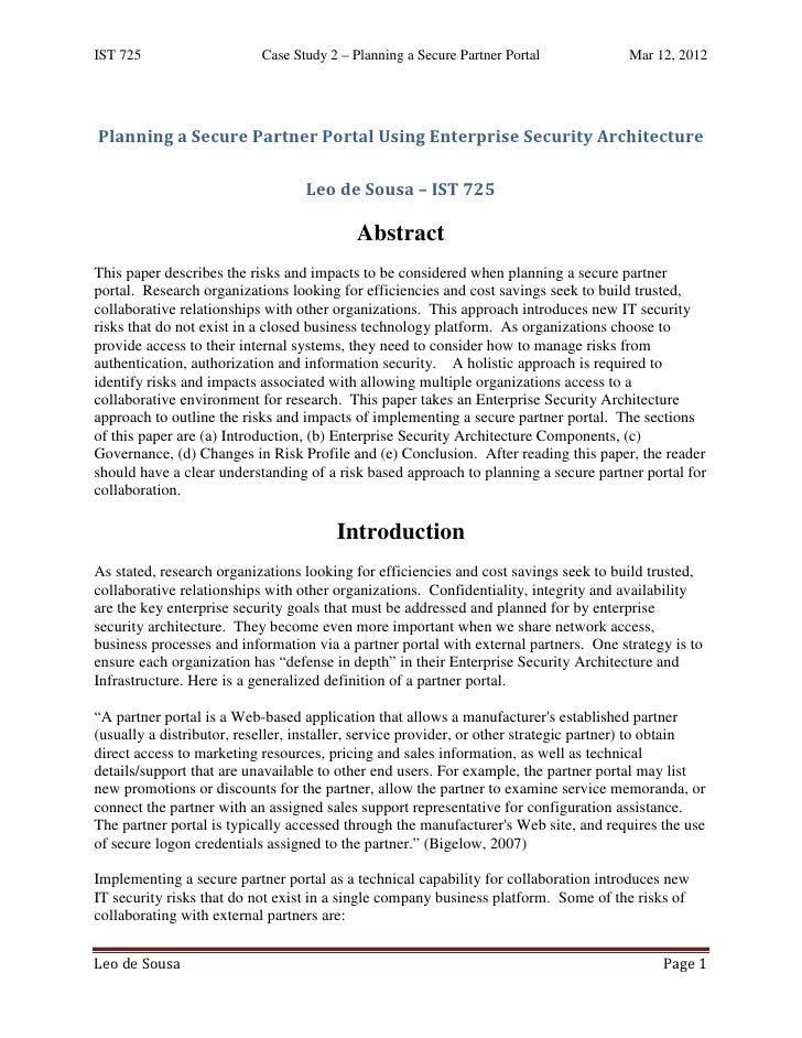 IST 725                    Case Study 2 – Planning a Secure Partner Portal             Mar 12, 2012Planning a Secure Partn...