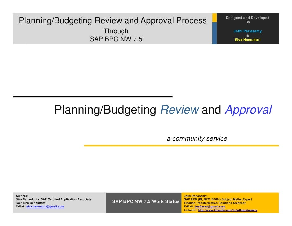 Financial Planning/Budgeting Review and Approval Process in SAP BPC N…