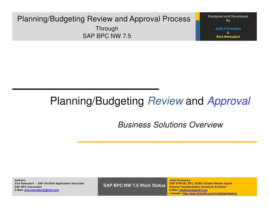 Designed and Developed Planning/Budgeting Review and Approval Process                                                     ...