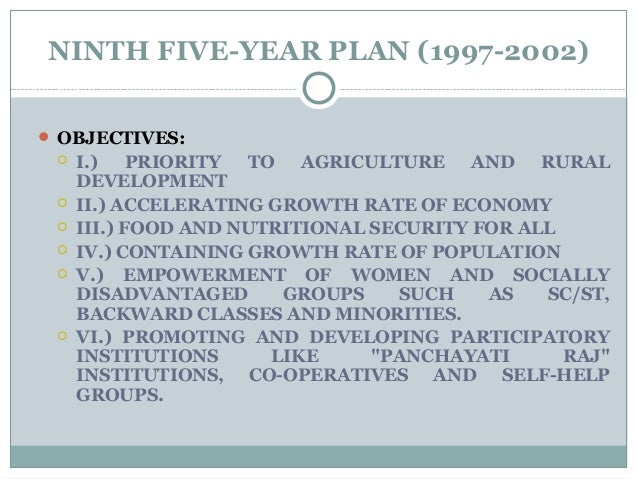 NINTH FIVE-YEAR PLAN (1997-2002)  OBJECTIVES:  I.) PRIORITY TO AGRICULTURE AND RURAL DEVELOPMENT  II.) ACCELERATING GRO...