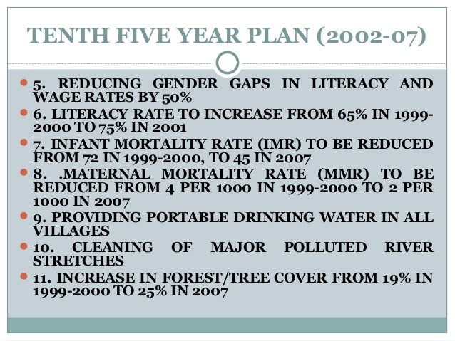 TENTH FIVE YEAR PLAN (2002-07) 5. REDUCING GENDER GAPS IN LITERACY AND WAGE RATES BY 50% 6. LITERACY RATE TO INCREASE FR...