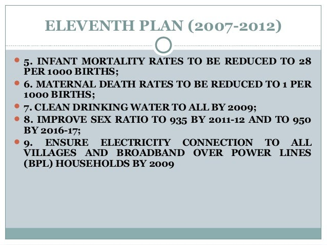 ELEVENTH PLAN (2007-2012)  5. INFANT MORTALITY RATES TO BE REDUCED TO 28 PER 1000 BIRTHS;  6. MATERNAL DEATH RATES TO BE...