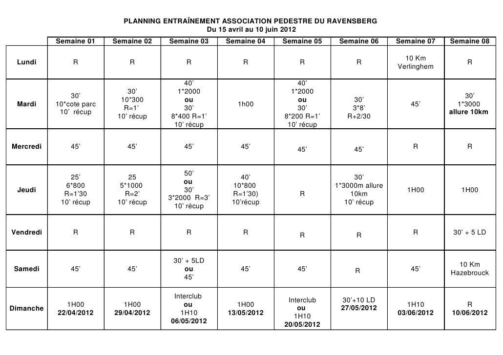 PLANNING ENTRAÎNEMENT ASSOCIATION PEDESTRE DU RAVENSBERG                                              Du 15 avril au 10 ju...