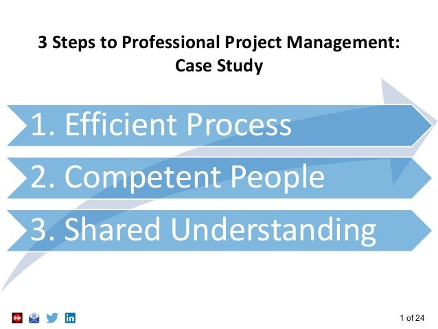1 of 24 3 Steps to Professional Project Management: Case Study 1. Efficient Process 2. Competent People 3. Shared Understa...