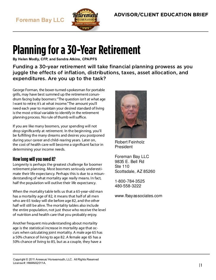 """ADVISOR/CLIENT EDUCATION BRIEFPlanning for a 30-Year Retirement!""""#$%&%#()*&""""+#,-.+#/*#0/*1/#23456+#,.27.-0Funding a 30-yea..."""