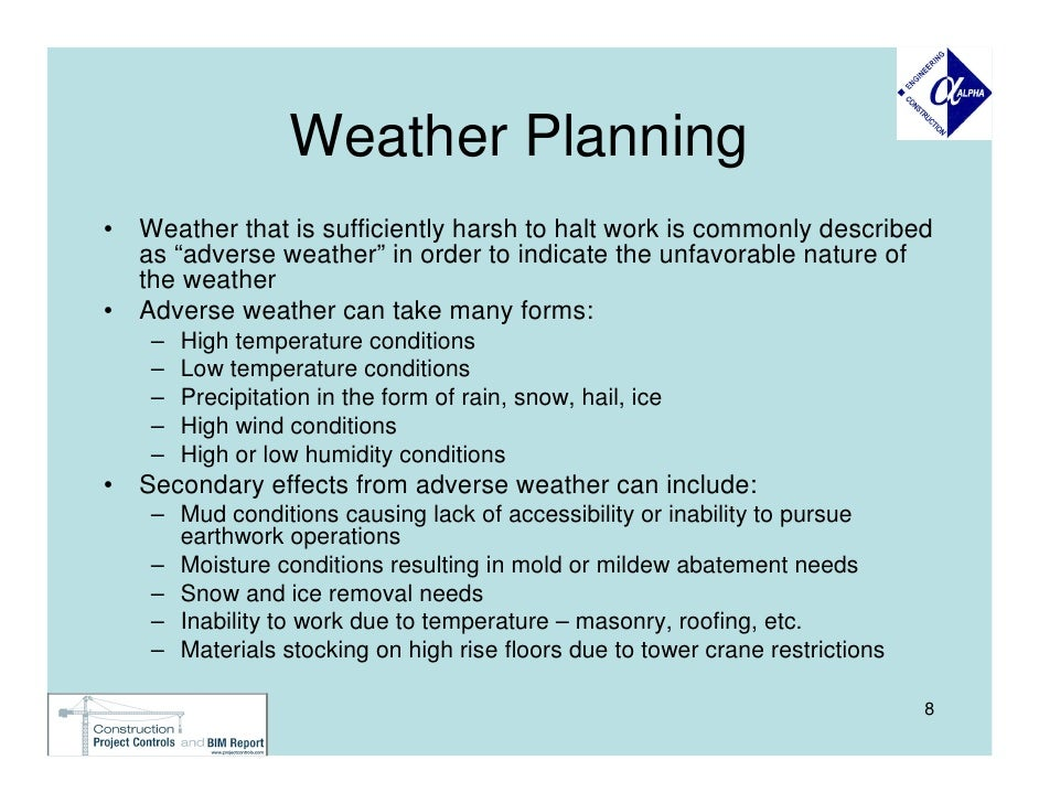 Planning for adverse weather in construction projects for Inclement weather policy template