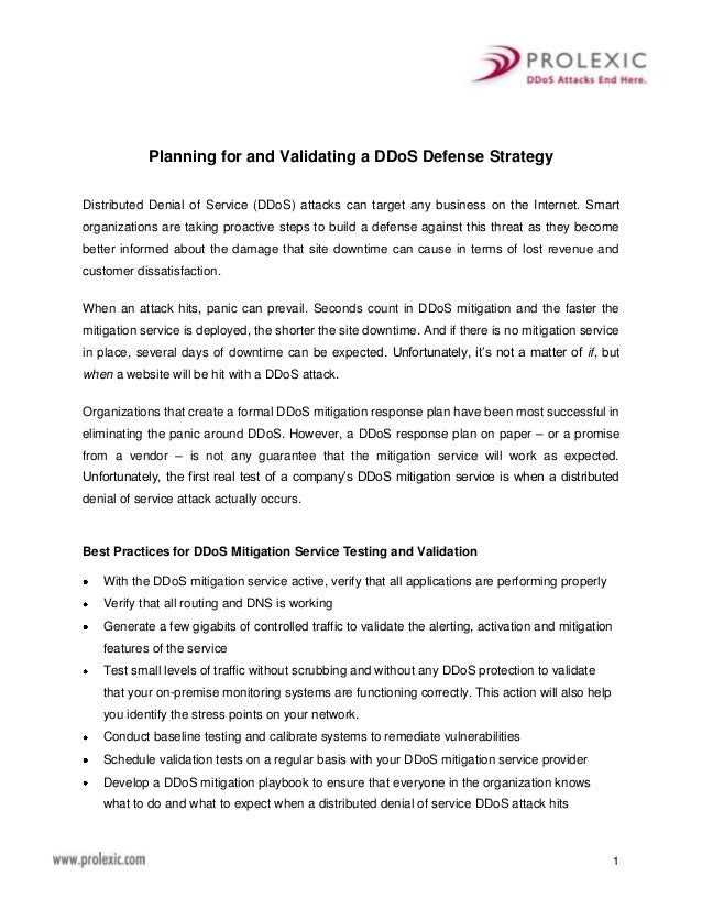 1Planning for and Validating a DDoS Defense StrategyDistributed Denial of Service (DDoS) attacks can target any business o...