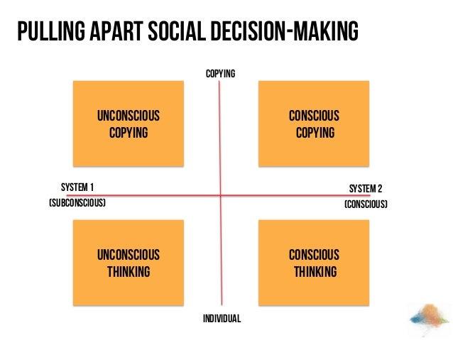 Pulling apart social decision-making Copying  Unconscious copying  Conscious copying  System 1 (subconscious)  System 2 (c...