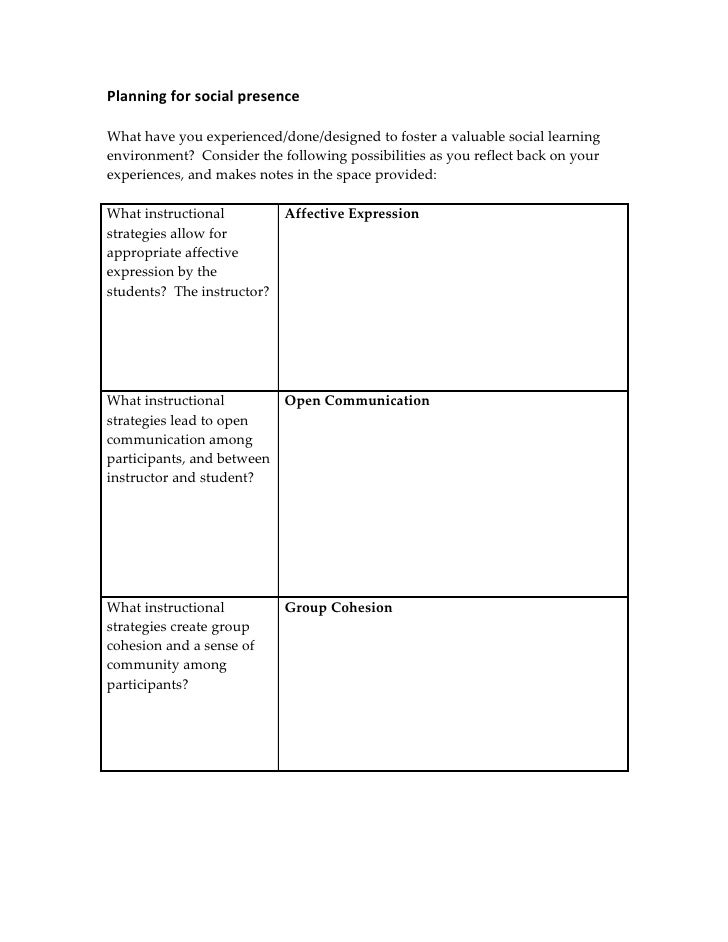 Planning for social presence  What have you experienced/done/designed to foster a valuable social learning environment? Co...
