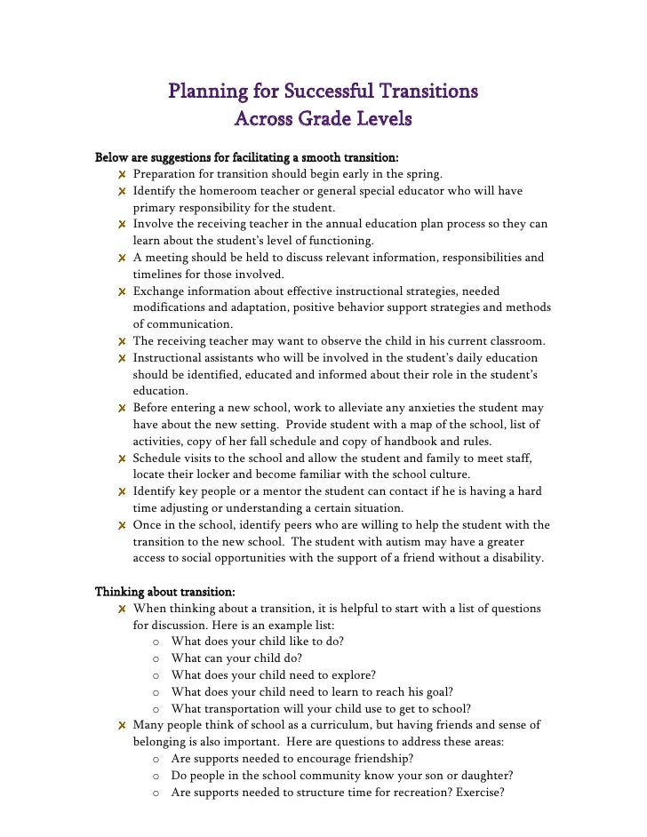 Planning for Successful Transitions                     Across Grade LevelsBelow are suggestions for facilitating a smooth...