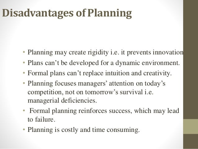 disadvantages of planning in management