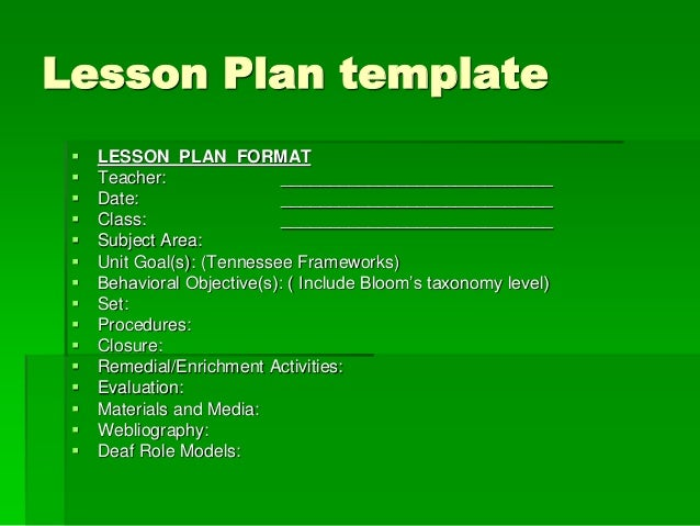 Planning lessons for Bloom taxonomy lesson plan template