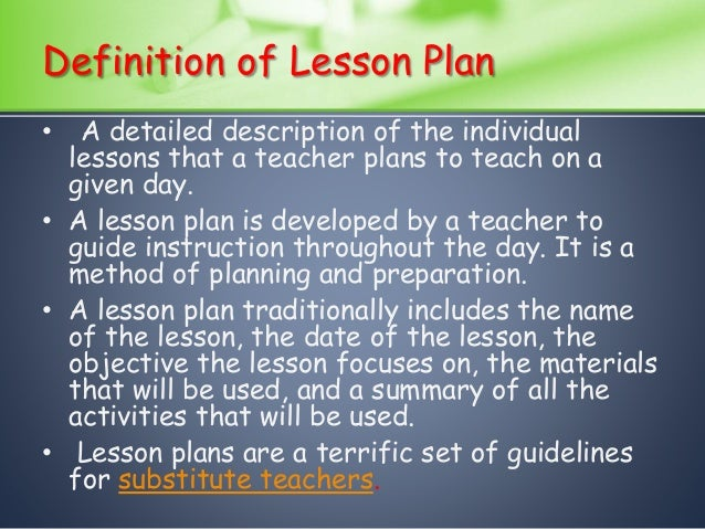 definition of lesson plan pdf