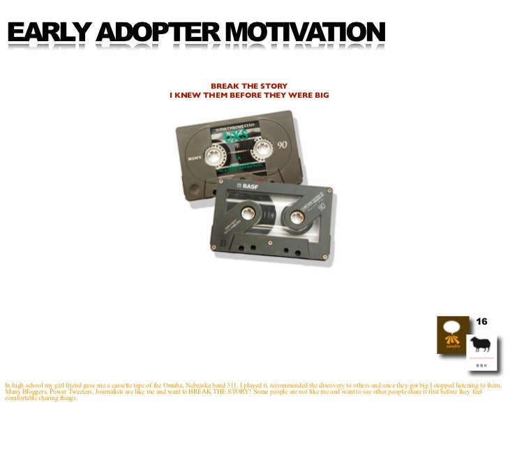 EARLY ADOPTER MOTIVATION                                                                      BREAK THE STORY             ...