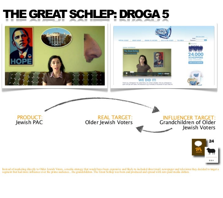 THE GREAT SCHLEP: DROGA 5                 PRODUCT:                                                        REAL TARGET:    ...