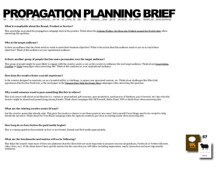 PROPAGATION PLANNING BRIEF What is remarkable about the Brand, Product or Service?  This area helps us ground the propagat...