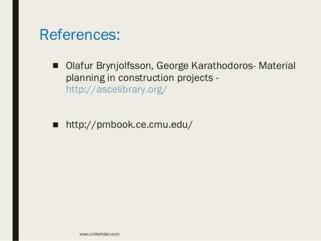 Planning Of Materials In Construction Project Management