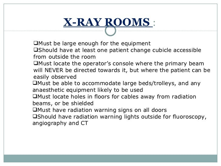 Planning services for X ray room design