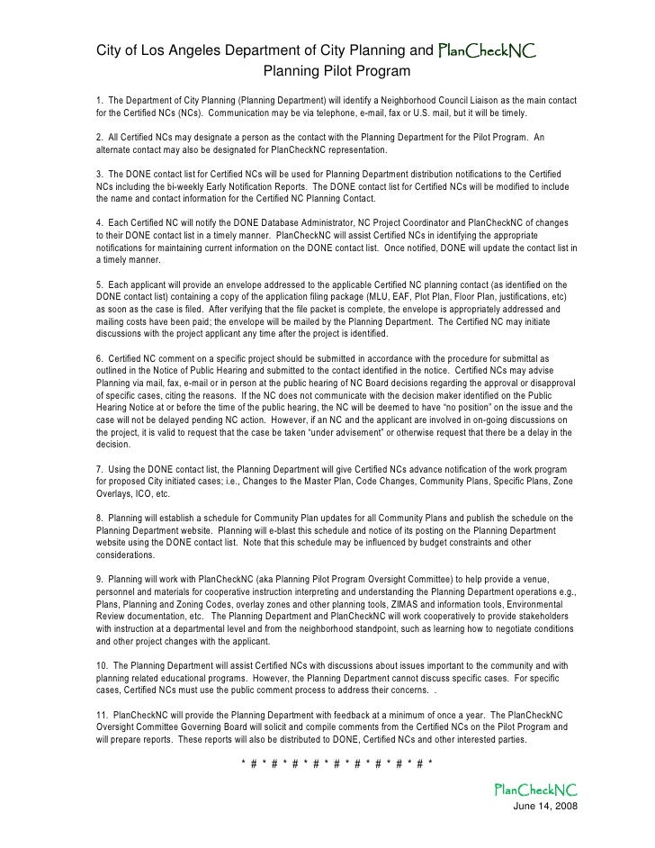 City of Los Angeles Department of City Planning and PlanCheckNC                         Planning Pilot Program1. The Depar...