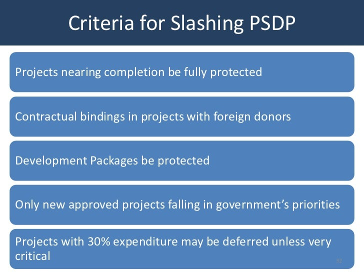 Criteria for Slashing PSDPProjects nearing completion be fully protectedContractual bindings in projects with foreign dono...