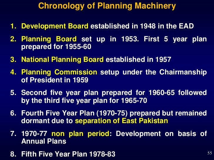 Chronology of Planning Machinery1. Development Board established in 1948 in the EAD2. Planning Board set up in 1953. First...