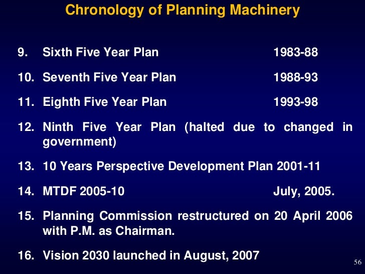 Chronology of Planning Machinery9.   Sixth Five Year Plan                  1983-8810. Seventh Five Year Plan              ...