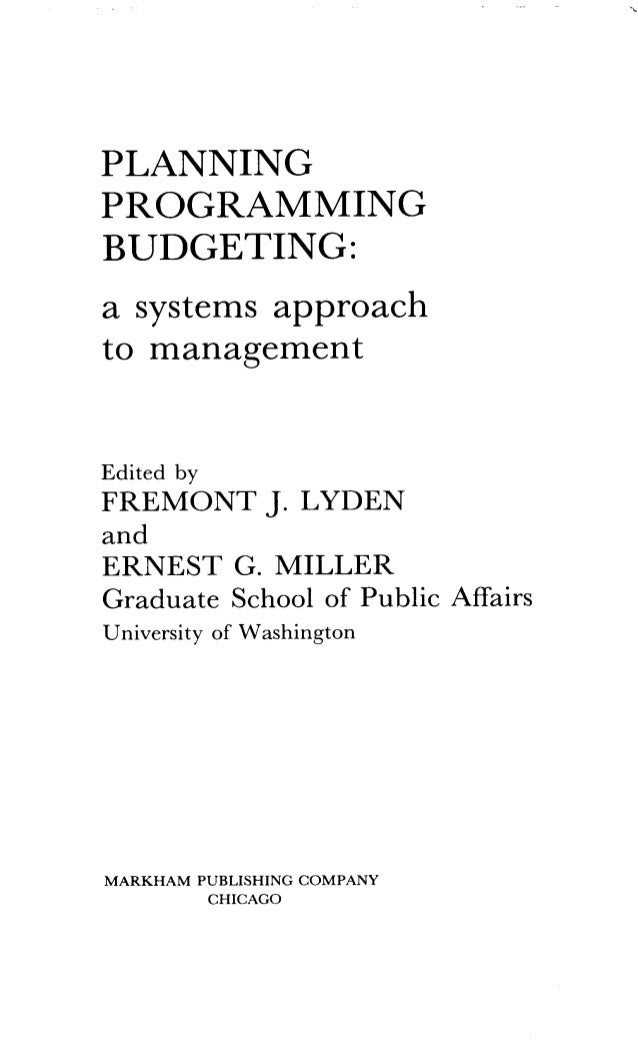 planning programming budgeting system example