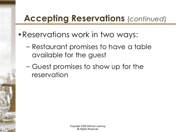 Planning Reservations And Blocking Tables - Table 6 reservations