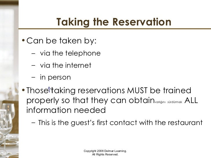 Planning Reservations And Blocking Tables - Table reservation in restaurant