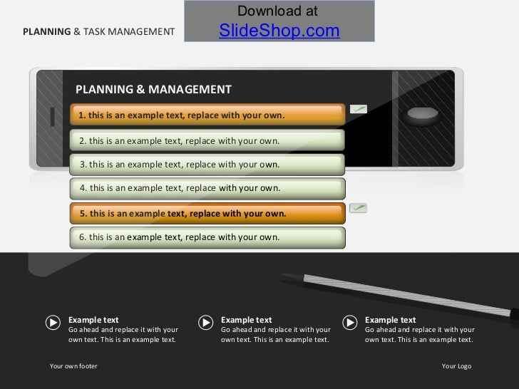 PLANNING  & TASK MANAGEMENT 1. this is an example text, replace with your own. 2. this is an example text, replace with yo...