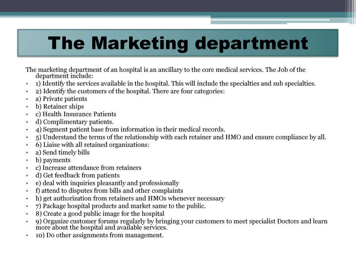 Marketing plan for the healthcare company nursing home for Hospital marketing plan template